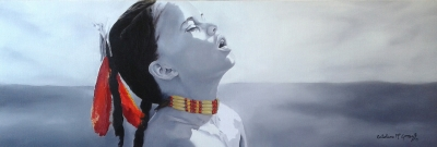 "American Indian Boy - Oil on canvas - 12"" x 36"" - Sold"